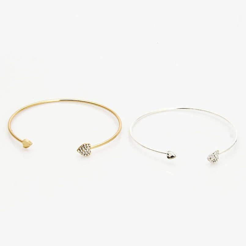 Heart Bracelets for Women Rhinestone Silver Gold Bangles Pulseiras Jewelry Vintage Momen's Cuff Bracelet Pulceras Para Mujer