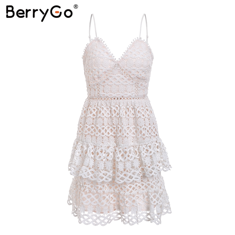 BerryGo Women white lace dress party spaghetti strap Embroidery ruffle sexy dress V-neck hollow out summer dresses ladies 19 18