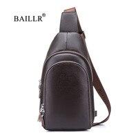 BAILLR Brand Genuine Leather Crossbody Bags Vintage Chest Pack Bag Waterproof Man Casual Messenger Bag Shoulder