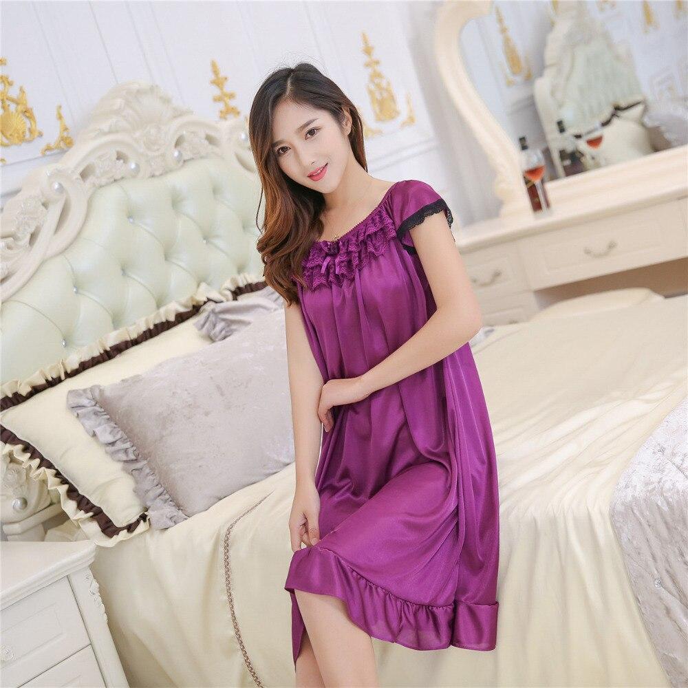 Women   sleepshirts   new summer ice silk   nightgown   multicolor female sexy silk skirt Home Furnishing lengthened sling sleepdress