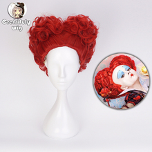 Halloween Costume Alice in Wonderland 2 Red Queen Cosplay Wig Role Play of Hearts Hair + Free Cap