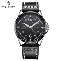 Fashion Quartz Double Calendar Watch Mens Genuine Leather Strap Casual Sport Male Wrist Watches For Men