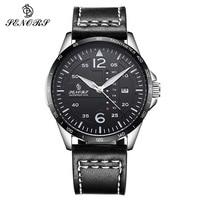 Fashion Quartz Double Calendar Watch Mens Genuine Leather Strap Casual Sport Male Wrist Watches For Men