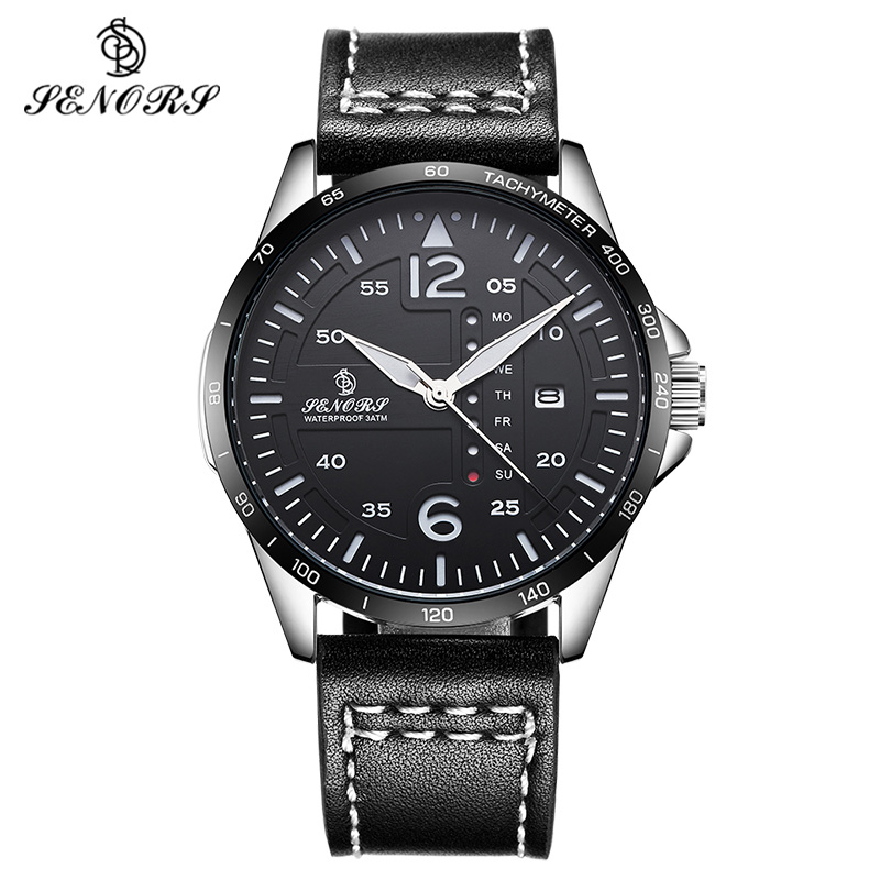 Men Watch Military Quartz Sport Army Watches Leather Watchband Double Calendar Male Clock Wristwatch Relogio Masculine by SENORS high quality mens business quartz watch men sport military watch pu leather strap army wristwatch male casual clock hour relogio