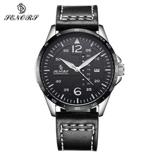 цена на Fashion Quartz Double Calendar Watch Mens Genuine Leather Strap Casual Sport Male Wrist Watches for Men Clock relogio masculino