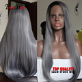 Grey Synthetic Lace Front Wig Glueless Ombre Black to Grey African American Wigs Heat Resistant Hair Wigs Silky Straight instock