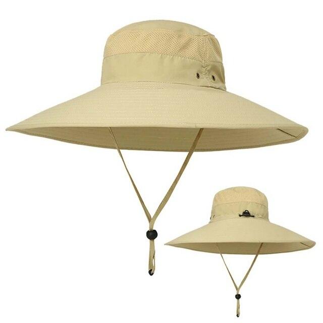 de70afabfdd Wide Brim Bucket Hats for Men Women Outddoor Sunhat Sun Protection Fishing  Hat Casual Jungle Fisherman