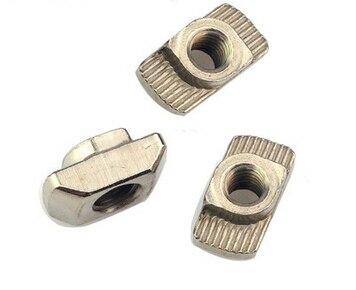100PCS M3 M4 M5 Hammer Nut Aluminum Connector T Fastener Sliding Nut Nickel Plated Carbon Steel for 2020 Aluminum Profile