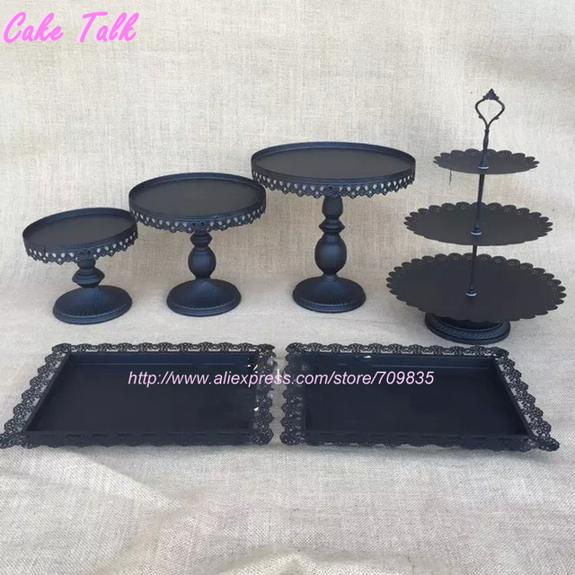 Black Cake Stand Set Of 6 Pieces Cupcake Stand Cake Barware