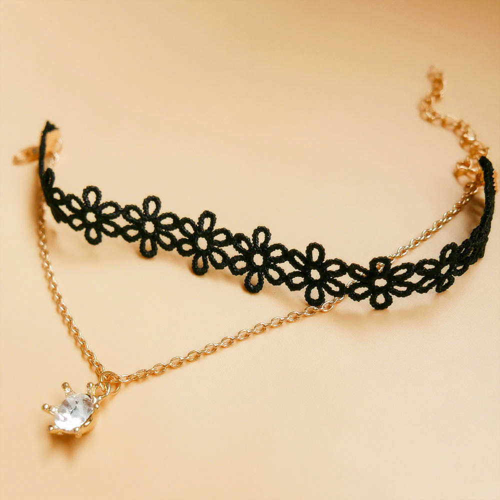 Grosir Unik Vintage Hitam Renda Liontin Gelang Bunga AnkleBracelet - Perhiasan fashion - Foto 2