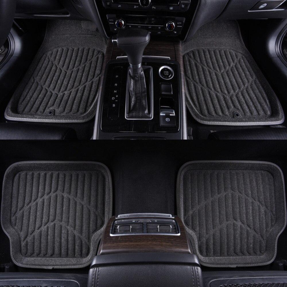 Car-pass Car Floor Mats Universal Black/Gray Front & Rear Floor Mats Fit Driver & Passenger Seat Ridged Heavy Duty Towel Floor
