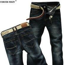 USRUER-YEEZY Продвижение Брюки Новая Мода Мужчины Прямые Повседневная Slim Fit Ближний Талия Синий Стиральная Классические Джинсовые Мужские Джинсы, Шорты