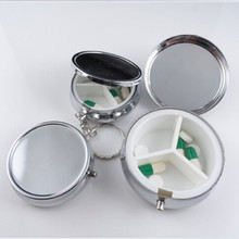 1pcs Divide Storage Metal Round Silver Tablet Pill Boxes Holder Advantageous Container Medicine Case Small Cases