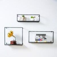 Nordic Ornaments Wrought Iron Wall Shelf Multipurpose Simple Living Room Art Decorative Rack High Quality Wall mounted Bookshelf