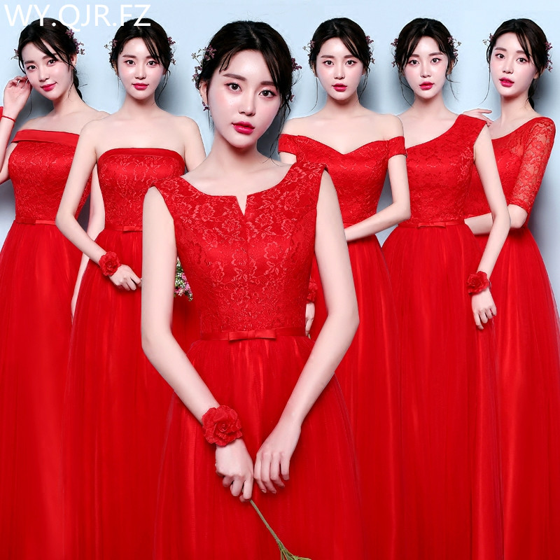 YNHS01H#Red Bridesmaid Dresses Graduation Long Dinner Dress Girl New Beanpaste Wedding Party Dress 2019 Prom Gown Fashion Women