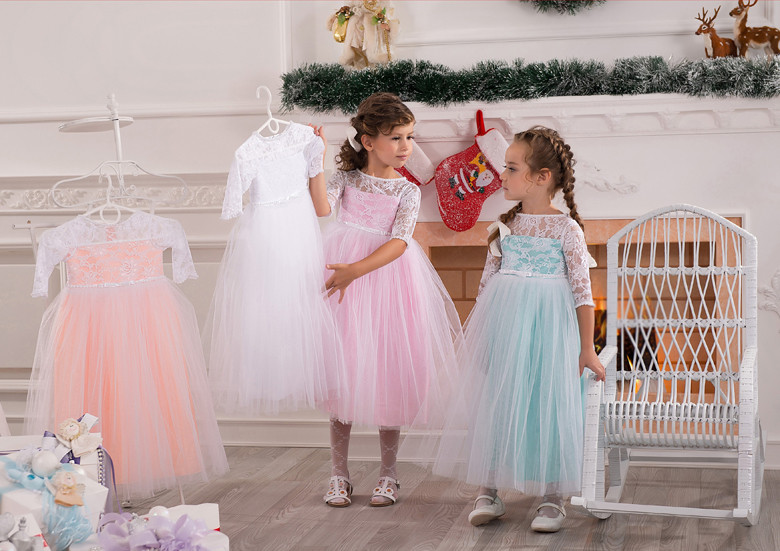 New Cute Baby Girls For Birthday White Lace Long Sleeves O Neck Flower Girls Dresses for Wedding Little Girls Christmas Gown недорго, оригинальная цена