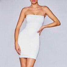 купить Summer Women Solid Sexy Dress Bodycon Spaghetti Strap Slash Neck Dress Club Simple Sleeveless Mini Dress по цене 1007.58 рублей