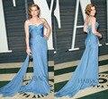 87th Oscar tapete vermelho vestido 2015 azul Modest tribunal trem querida com lantejoulas vestidos de celebridades