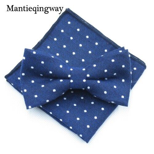 Mantieqingway мужской хлопчатобумажный галстук-бабочка носовой платок набор бизнес костюмы бантики точка карман квадратное полотенце для сундуков Hankies для свадьбы - Цвет: MYBZZ054NY