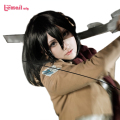 Free Shipping Fashion 40CM Synthetic Black Attack on Titan Mikasa Ackerman Cosplay Wig