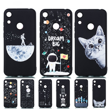 Ultra Thin Soft Cover for Honor 8A Case Huawei 8 A Silicone 3D Painted Matte Starry Sky Universe Cat
