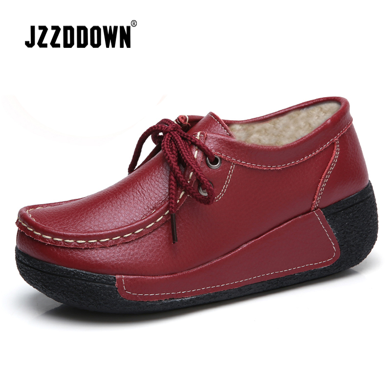 JZZDDOWN Women shoes genuine leather with fur shoes woman platform Heel High 5cm women sneakers platform Loafers Ladies shoesWomens Flats   -