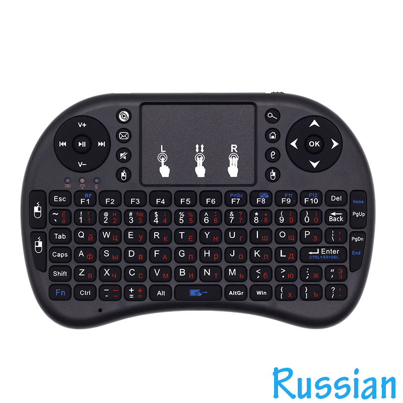 I8 English, Russian Keyboard 2.4G Mini Wireless Keyboard Air Mouse With Touchpad For Android TV Box / Mini PC / Projectors