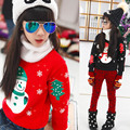 Children's clothing autumn and winter plus velvet girl/boy sweatshirt T-shirt round neck pullover sweater