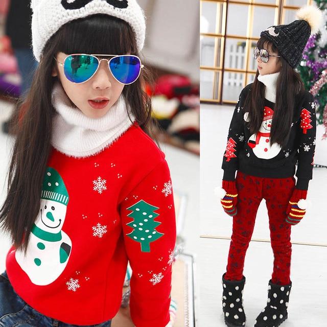 Children's clothing autumn and winter plus velvet girl/boy sweatshirt T-shirt round neck pullover sweater