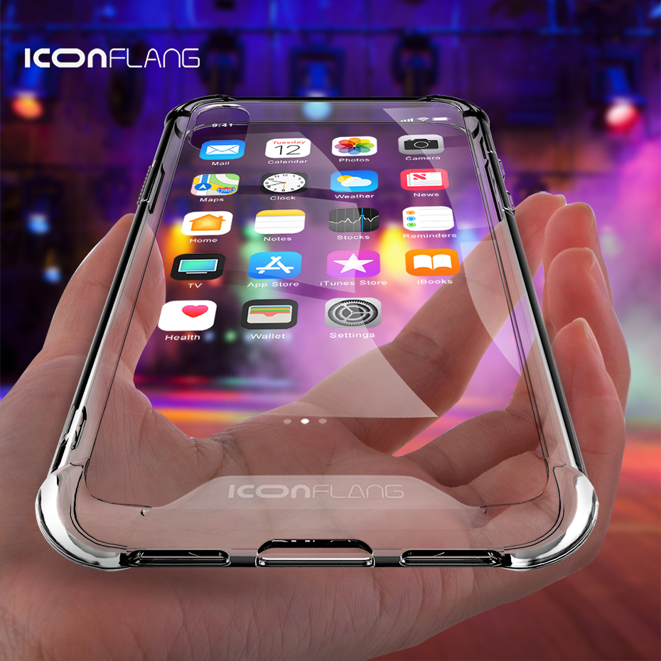 Crystal Rugged Case for iPhone XS XR XS Max Hybrid Transparent Clear Hard Plastic Soft Silicone Air Cushion Armor Defender Cover iPhone XR