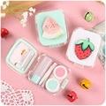 Frutas de color 3D caja de lente de contacto con espejo caja de lente de contacto lindo Precioso Viaje caja Gafas Accesorios