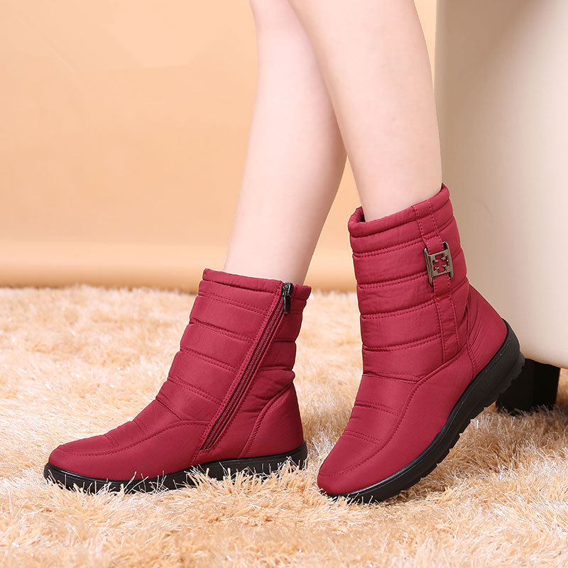 2017 Women Winter Boots Female Down Zipper Snow Ankle