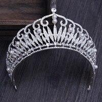 Manwii花嫁大模造真珠クラウン韓国花嫁の頭飾りウェディングジュエリージュエリーアクセサリー誕生日宴会crownHL1615