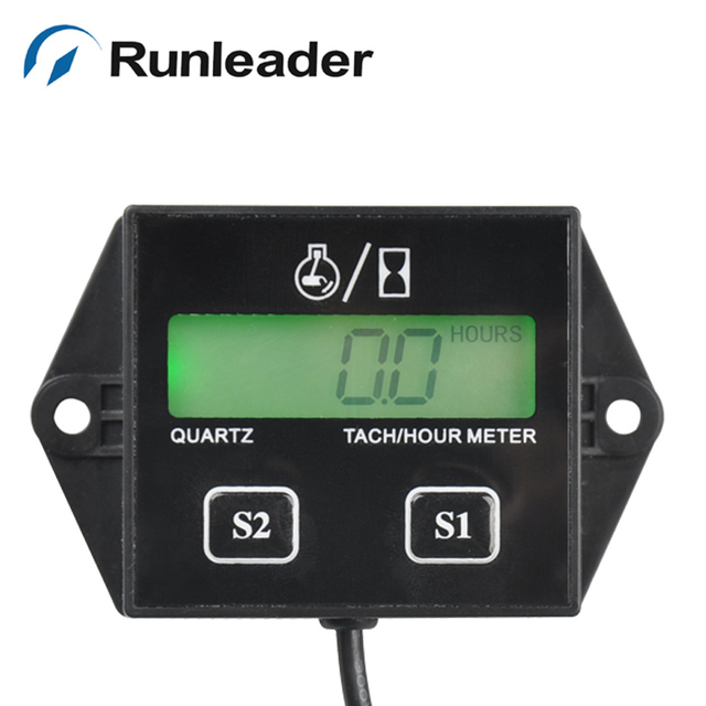 RL-HM011L big LCD battery replaceable tachometer hour meter for motorcycle outboard marine chainsaw forklift pump sprayer