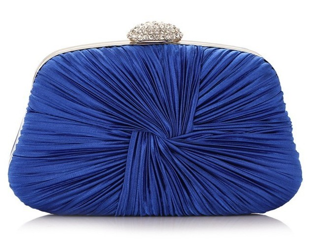 free shipping Women's Drape Satin Evening Bag Bride Pouch Dinner Bag Folded Satin Wrist Clutch With Chain NO3039