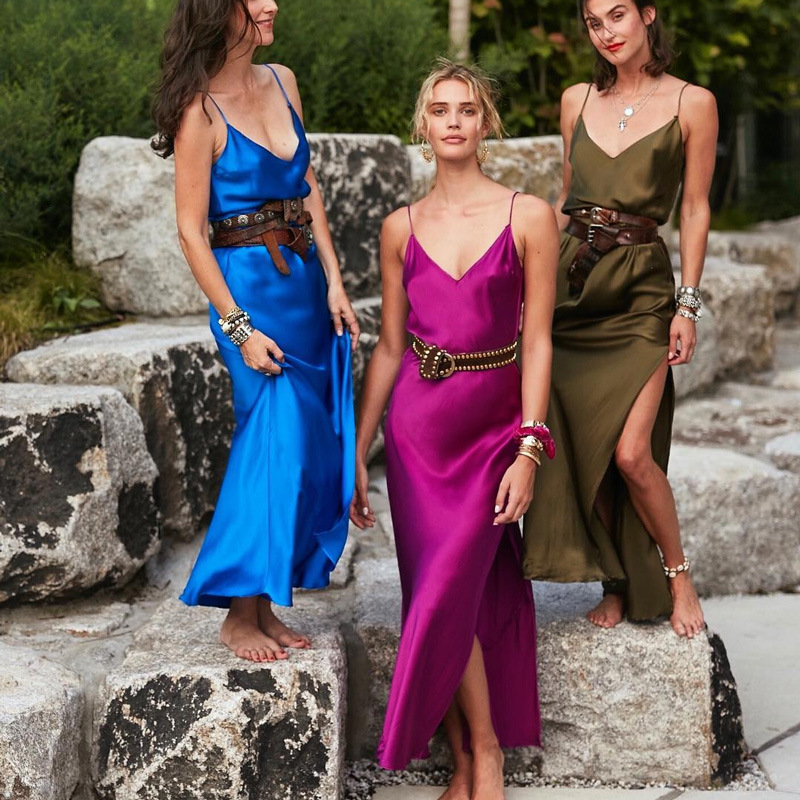 Ordifree 19 Summer Women Long Silk Dress Spaghetti Strap Loose Split Sexy Maxi Satin Slip Dress 3