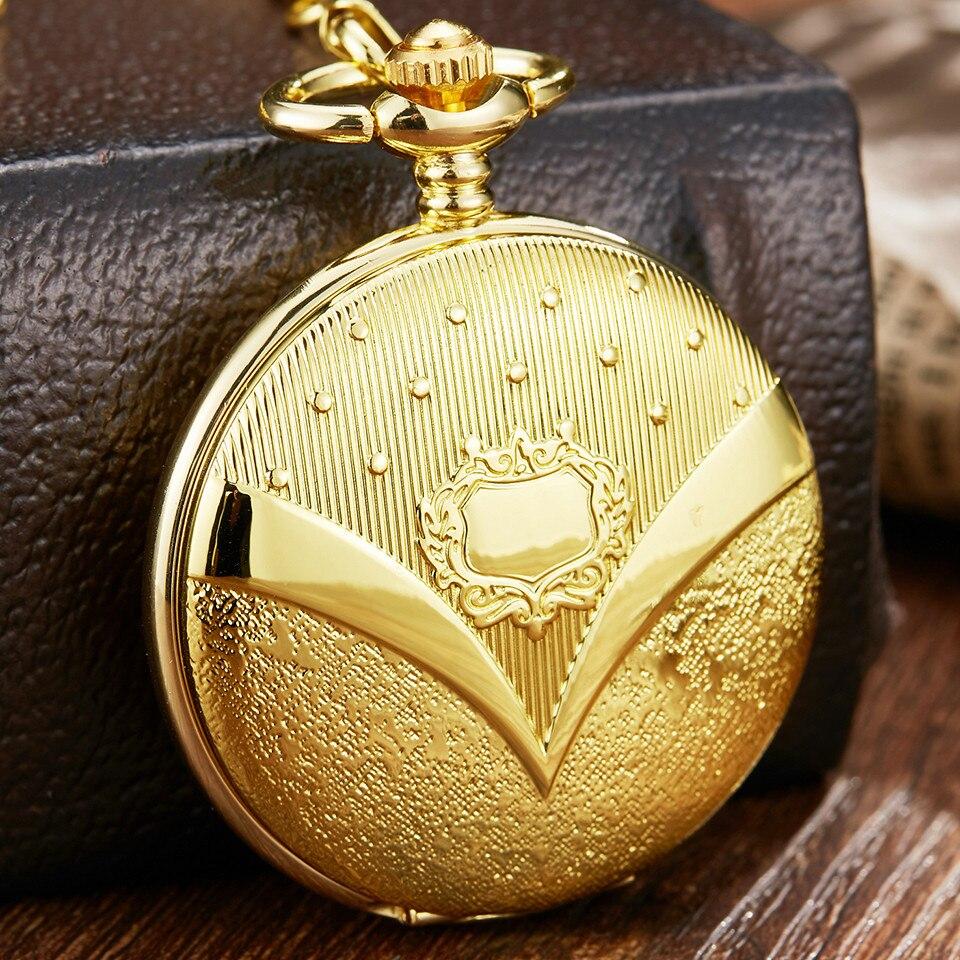 Luxury Golden Mechanical Pocket Watch Men Retro Roman Numerals Steampunk Skeleton Hand Wind Pocket Clock FOB Watch With Chain
