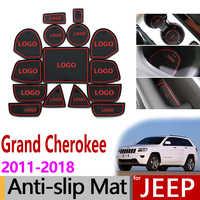 Anti-Slip Gate Slot Mat Rubber Coaster for Jeep Grand Cherokee WK2 2011 2012 2013 2014 2015 2016 2017 2018 Accessories Stickers