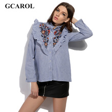 GCAROL 2017 Women New Arrival Floral Embroidery Blouse Ruffles OL Fashion Shirt High Quality Blue Striped Tops For 4 Season
