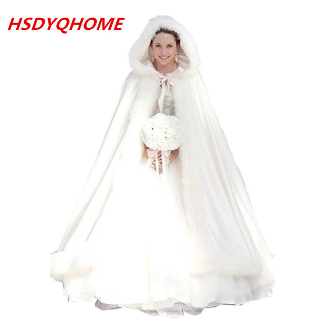 b803ce2e8895a HSDYQ HOME Winter Wedding Accressories White Wedding Cloaks Hooded Bridal  Cape with Train Faux Fur Bridal Wraps Bridal Cape