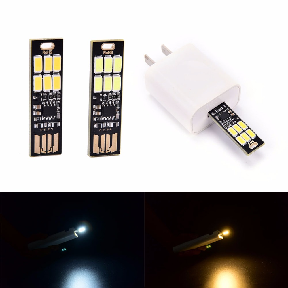 USB Power 6 LED Lamp Mini 1W 5V Touch Dimmer Warm/pure White Light For Power Bank Computer Laptop