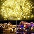 220 V UE 100 M 600 LED Festão Levou Luzes De Natal Decoração Do Casamento Da Lâmpada Luz Da Corda Do Partido Da Cintilação guirnalda luces de navidad