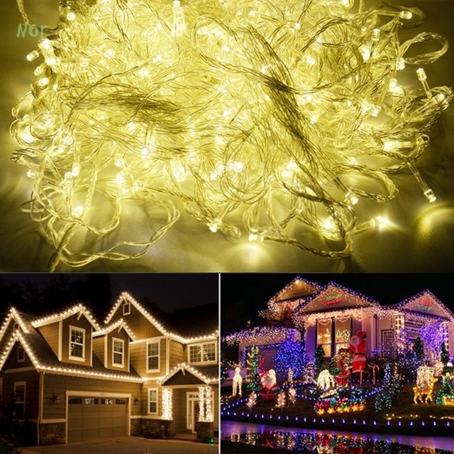 220V EU 100M 600 LED Garland Led Christmas Lights Decoration Wedding Lamp Party Twinkle String Light guirnalda luces de navidad