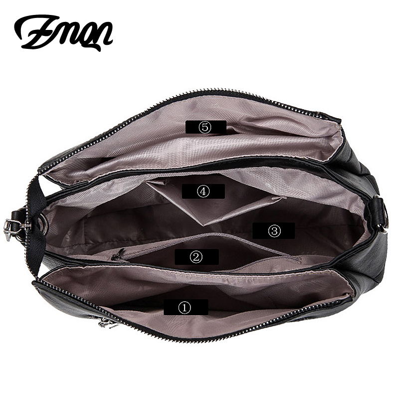 ZMQN Women Crossbody Bags Black Leather Shoulder Messenger Bags For Womens Side Plaid 3 Layers Handbags Laides Famous Brand A550