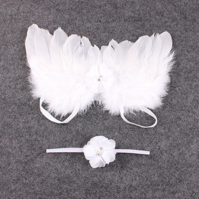 New 2017 Newborn Baby Girls Cute Angel Feather Wings & Flower Lace Hairband Headband For Toddler Kids Photography Props Cheap Z1