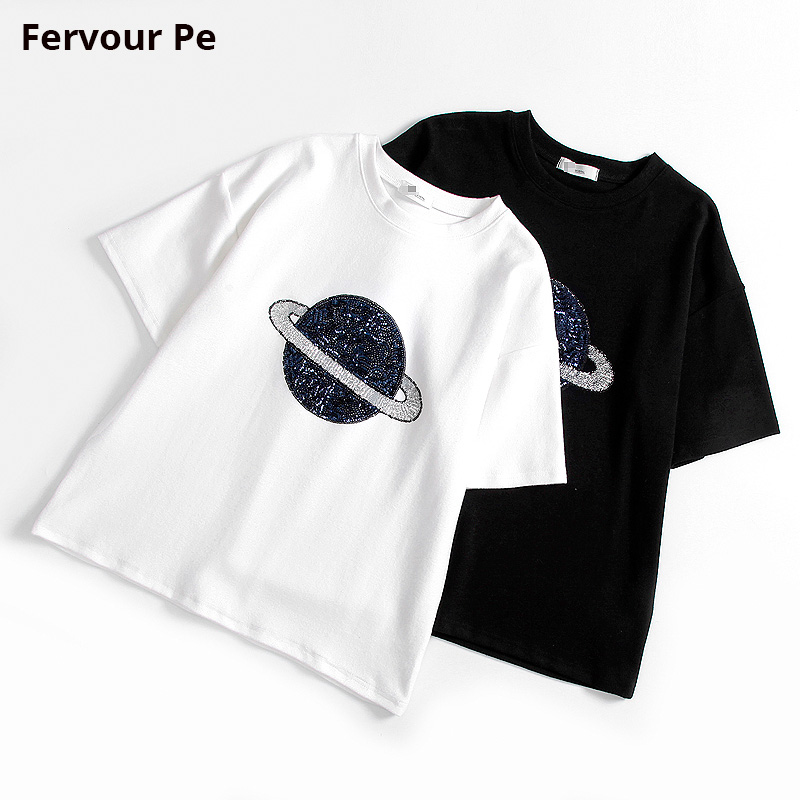 Mens Clothing T-shirt Black hole Space Planet Sequined Short sleeve Slim Look thin Style Tee cotton Shirt Men