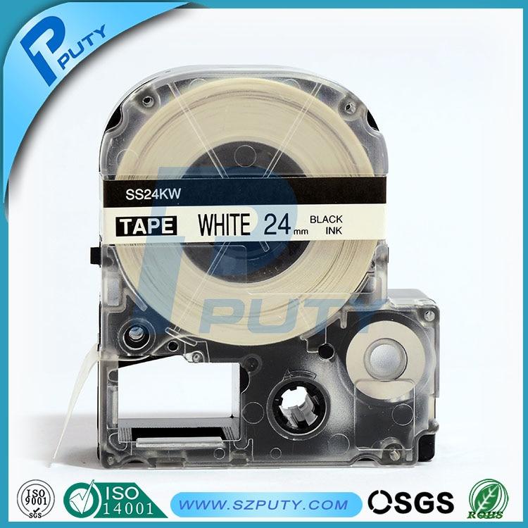 10 Packs 24mm Zwart Op Wit Ss24kw Compatibel Label Tapes Voor Kingjim Label Printers