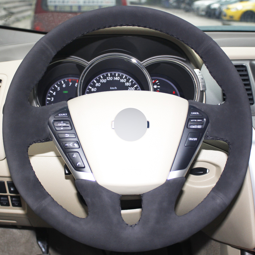 Black Suede Hand-stitched Car Steering Wheel Cover for Nissan Teana 2008-2012 Murano 2009-2014