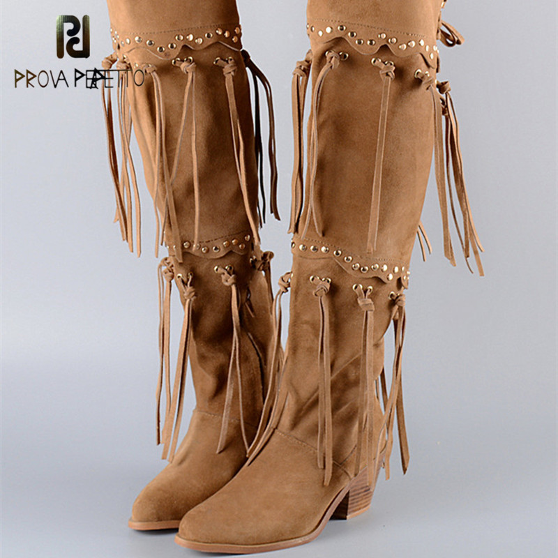 Prova Perfetto High Quality Winter Frosting Cow Suede Leather Long Boots with Tassels Casual Boots Thick Heel Rivet Martin Boots-in Knee-High Boots from Shoes    1