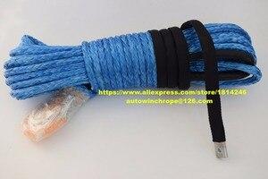 """Image 1 - ブルー 3/8 """"* 100ft合成ウインチロープ、atvウインチケーブル、牽引ロープ車、ケブラーウインチロープ、オフロードロープ"""